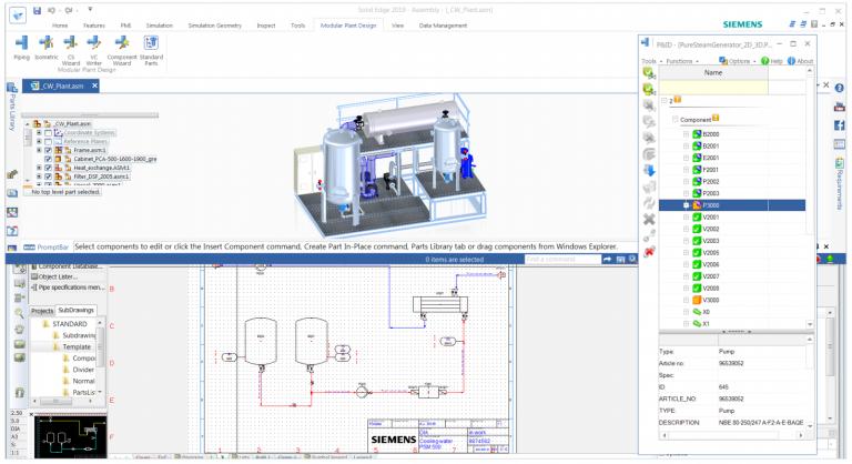 SOLID EDGE P&ID – Modulární návrh potrubí